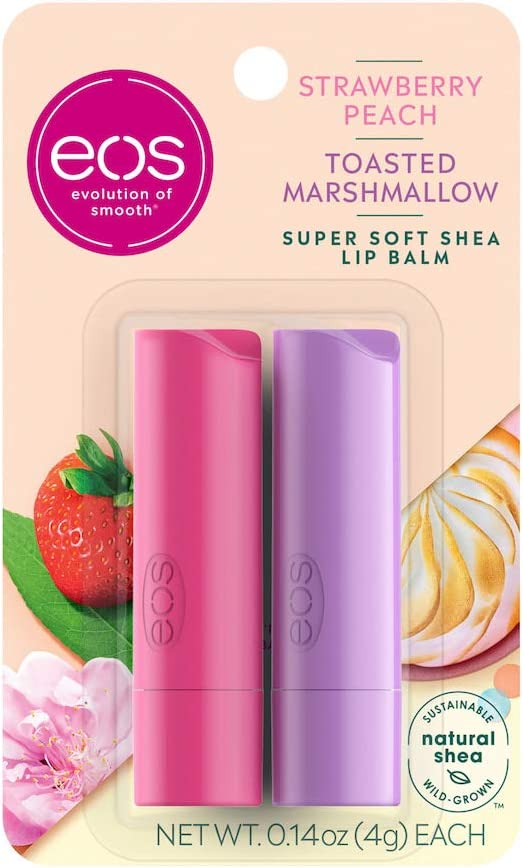 eos Super Soft Shea Stick Lip Balm - Strawberry Peach and Toasted Marshmallow |Deeply Hydrates and Seals in Moisture | Sustainably-Sourced Ingredients |2 Count of 0.14 oz Each, 0.28 oz