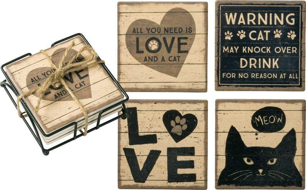 Primitives by Kathy Coaster Set All You Need is Love and A Cat Kitchen Accessories (39364)