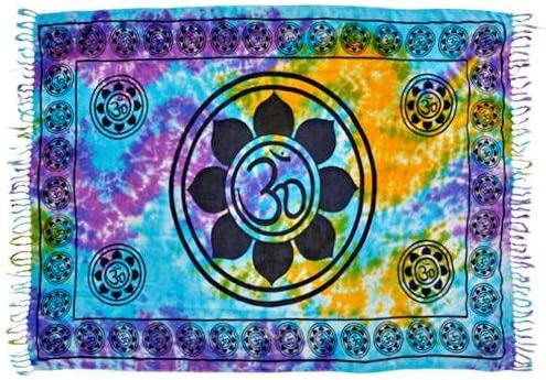 Rajasthan Cottage Om Lotus Tie-Dye Yoga Meditation Altar Cloth Prayer Shawl Tapestry