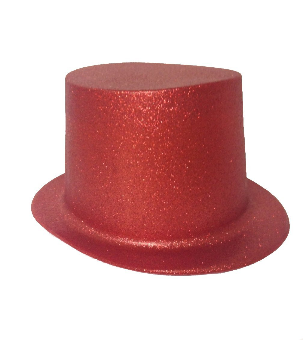 Red Glitter Top Hat for Adults Lot of 12 Hats