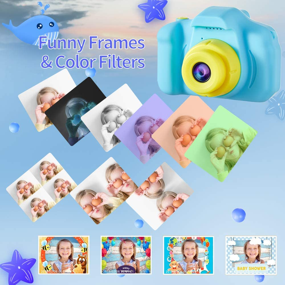 Blue Portable Rechargeable Digital Video Camcorder 2.0 Inch IPS Screen with 32GB Card D.DA.D Kids Camera for Boys Best Birthday Gifts for 3 4 5 6 7 8 Year Old Children Toddler Toys
