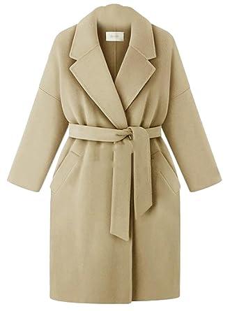 Women Belt Long Trench Coat Apricot Outerwear Overcoat Winter Windbreaker Parka