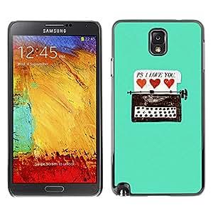 X-ray Impreso colorido protector duro espalda Funda piel de Shell para SAMSUNG Galaxy Note 3 III / N9000 / N9005 - Typewriter Hipster Teal Hearts Love You