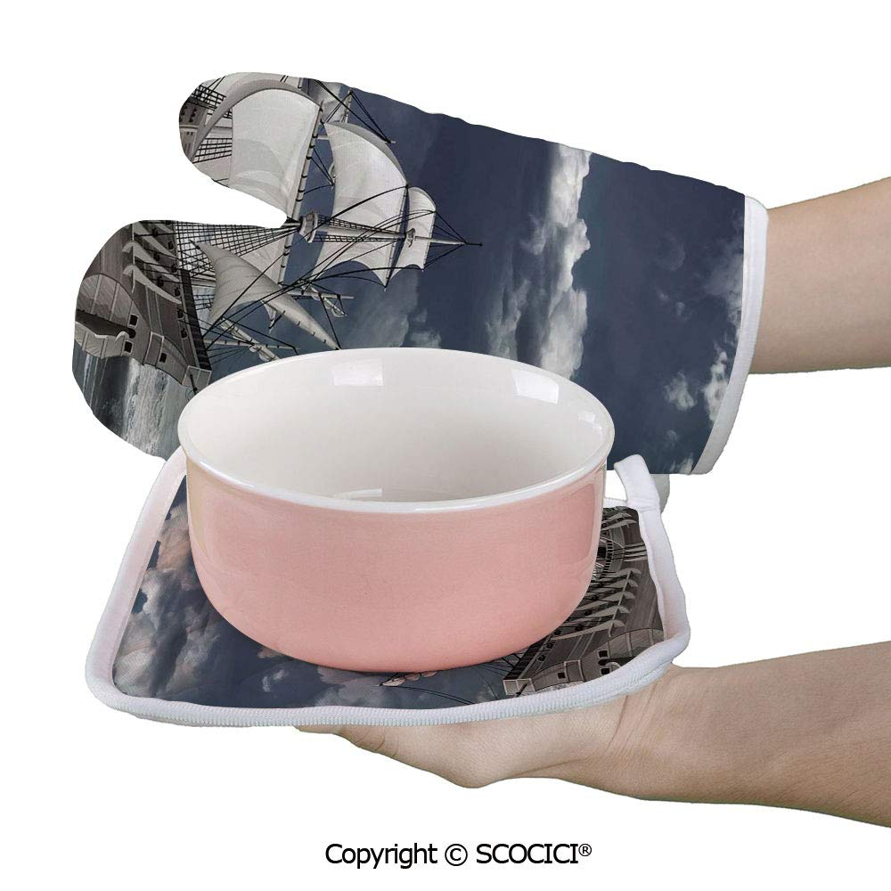 SCOCICI Oven Mitts Glove - Cloudy Sky Caribbean Pirates Ship Oil Print Like Art Heat Resistant, Handle Hot Oven Cooking Items Safely