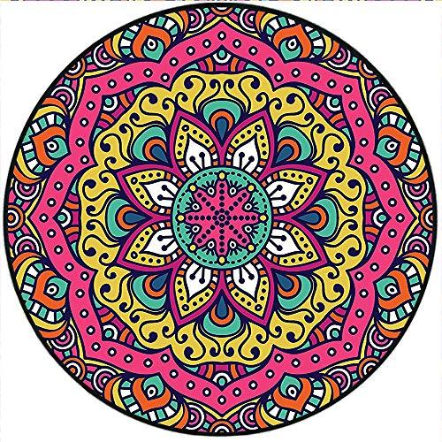 Short Plush Floor mat/Rug Geometric Floral Meditation Design Psychedelic Pink Navy Blue Mustard Non-Slip Machine Washable 31.5