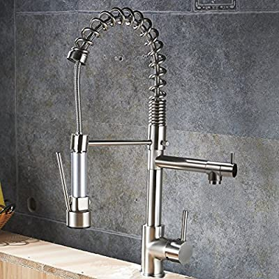 Gracelove Modern New Brushed Nickel Pull Down Kitchen Swivel Spout Hot and Cold Water Kitchen Sink Faucets