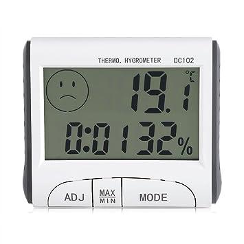 Termómetro Higrometro LCD Pantalla Medidor Temperatura Humedad, Termómetro higrómetro de interior LCD Digital Monitor de