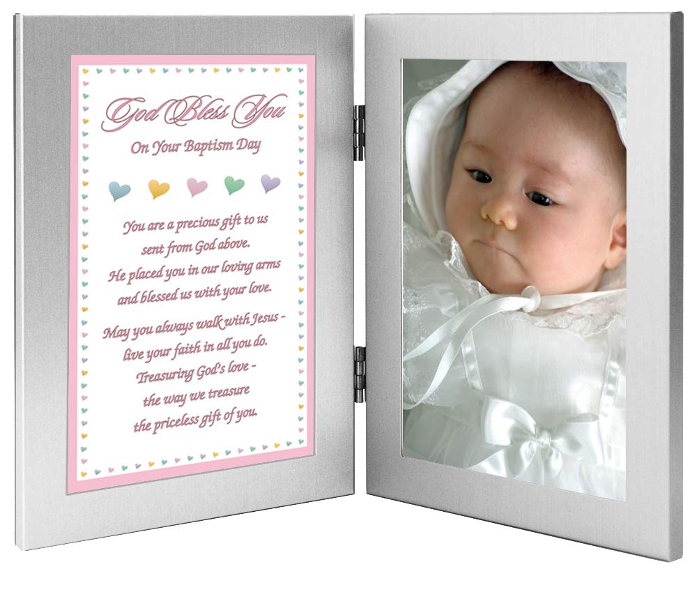 Baptism Gift for Baby Girl Add Photo to Double Frame