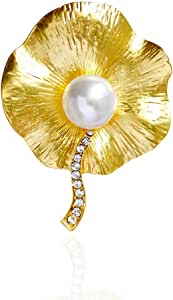 F&U Lotus Leaf Wedding Bouquets with Beautiful Pearl and Crystal Brooch for Women - Gold