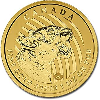 2015 1 Oz Gold Canadian Growling Cougar .99999 Pure $200 ...
