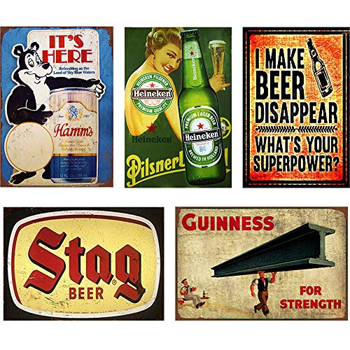 FlowerBeads Guinness Tin Bar Signs Funny Stag Beer Wall Decor, Metal Art Bar Pub Poster Metal Painting Decoration - 5PCS ()