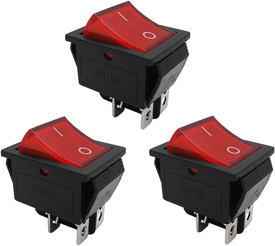 mxuteuk 5pcs Red Light Illuminated Snap-in Boat Rocker Switch Toggle Power DPST ON-OFF 4 Pin AC 250V 15A 125V 20A Use for Car Auto Boat Household Appliances 1 Years Warranty MXU2-201NR
