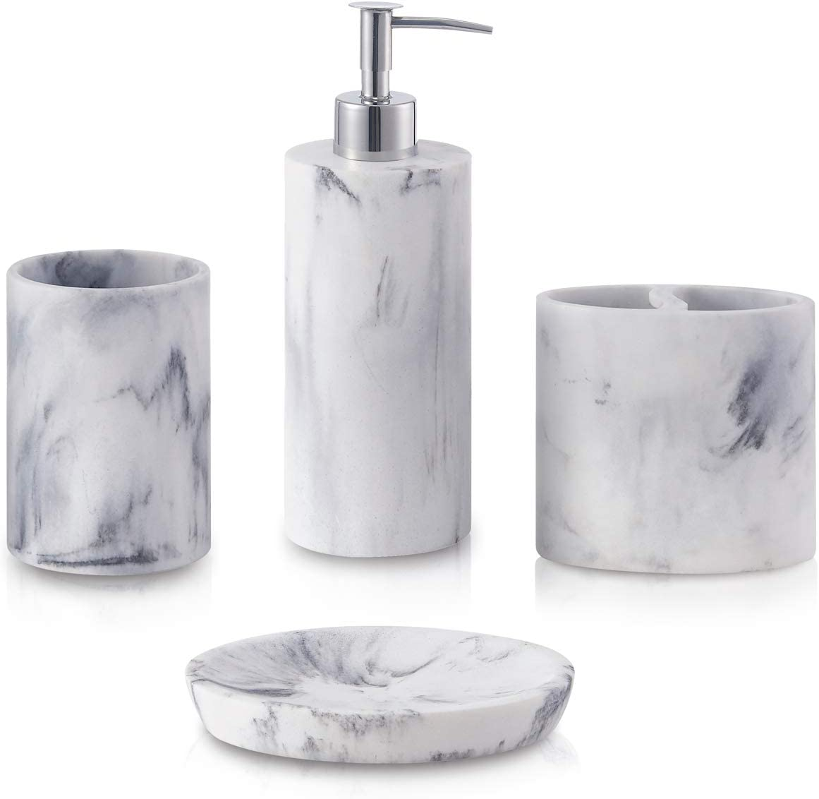 Amazon Com Zccz Bathroom Accessory Set 4 Pcs Marble Look Bathroom Vanity Countertop Accessory Set Bathroom Décor Accessories With Soap Dispenser Toothbrush Holder Bathroom Tumbler Soap Dish Home Kitchen