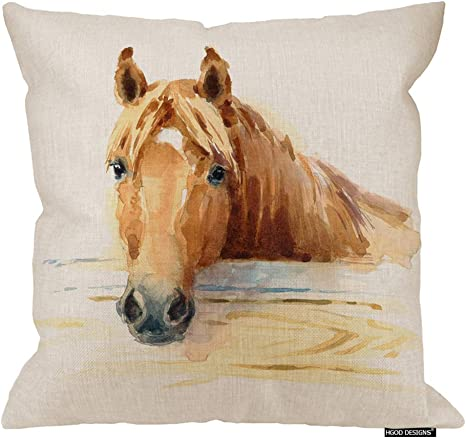 Amazon Com Hgod Designs Horse Pillow Cover Watercolor Horse In The Stable Art Painitng Cotton Linen Cushion Covers Home Decorative Throw Pillowcases 18x18inch Home Kitchen