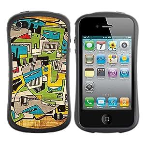 Suave TPU GEL Carcasa Funda Silicona Blando Estuche Caso de protección (para) Apple Iphone 4 / 4S / CECELL Phone case / / City Art Trippy Deep Artsy /