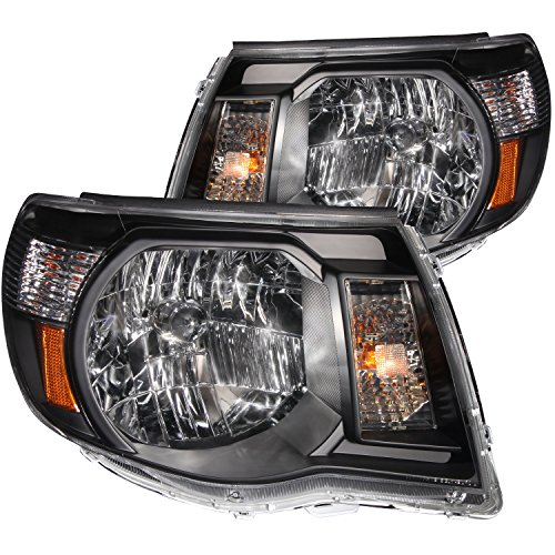 Anzo USA 121191 Toyota Tacoma Black With Amber Reflectors Headlight Assembly - (Sold in Pairs) (Tacoma Black Headlights compare prices)