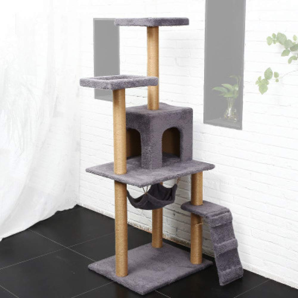 Grey ZHENGDY Sisal Cats Tree,Large Steady Cats House Plush Platform And Soft Hammock,Available In A Variety Of colors,Grey