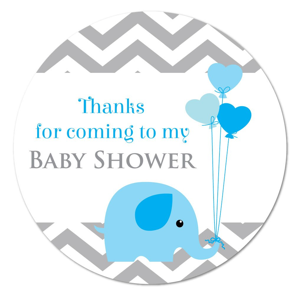 'Thank you for coming to my baby shower' stickers - 60mm in diameter, 'baby elephant', for party bags, Blue, Pink or Yellow (Blue (12 stickers)) 'baby elephant' StickerZone