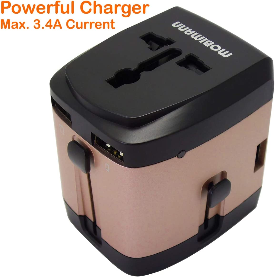 Travel Adapter, Worldwide All in One Universal Travel Adaptor Wall AC Power Plug Adapter Wall Charger with 4 USB Charging Ports for USA EU UK AUS Cell Phone Laptop