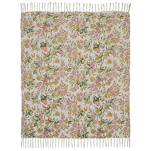 - VHC Brands Farmhouse Pillows & Throws-Madeline White Printed Floral Woven, 60