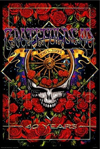 Grateful Dead 40th Anniversary 36x24 Music Art Print Poster Jerry Garcia Greatful Skull Established 1965