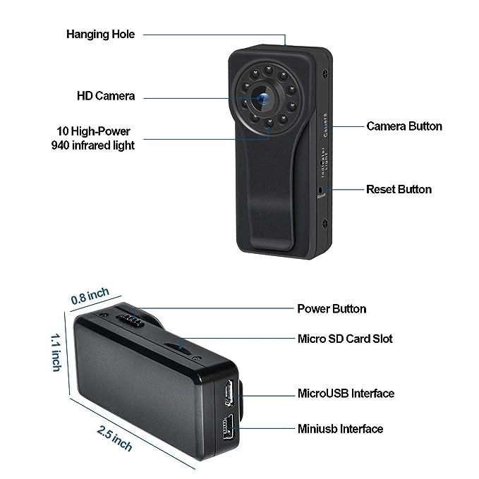 C-Xka Cámara espía ocultada 1080P HD mini, cámara del cuerpo de WiFi cámara de vigilancia de la vigilancia de la detección del movimiento de la cámara del ...