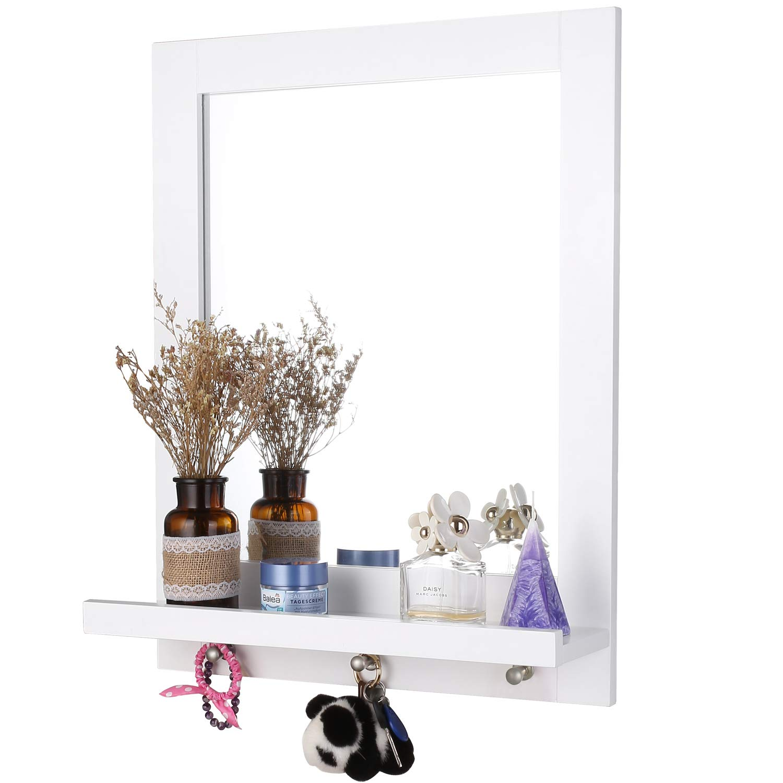 Dark Brown Homfa Bathroom Wall Mirror Vanity Mirror Makeup Mirror Framed Mirror with Shelf and 3 Hanging Hooks Multipurpose for Home