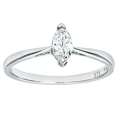 Naava Women's 9 ct White Gold 0.15 ct Pear Cut Diamond Solitaire Engagement Ring lMzPlM1E