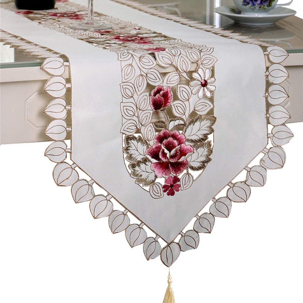 "Bettery Home Embroidered Satin Floral Table Runner Rectangular Cutwork Decorative Dresser Scarf, 15"" x 77"""