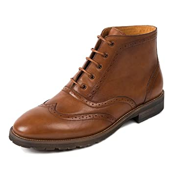MERRYHE Mens Brogue Martin Boots Lace Up Oxford Desert Boot Botines De Cuero Genuino Formal Dress Zapatos De Trabajo Vintage Cowboy Footwear: Amazon.es: ...