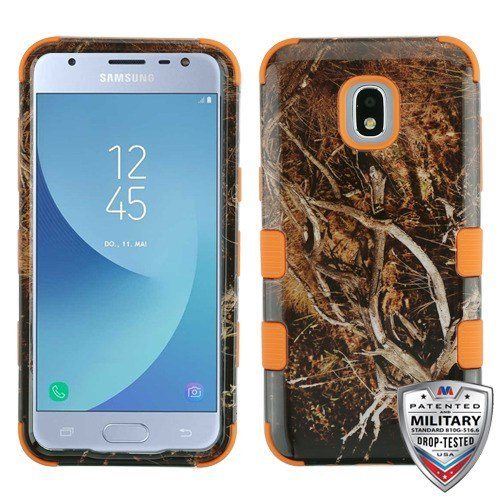For Samsung Galaxy J3 2018, Amp Prime 3, Express Prime 3, J3 Star, J3 Achieve, J3V J3 V 3rd Gen Case Phonelicious Military Grade Shockproof Hybrid Rugged Accessory Phone Cover (Black Vines)