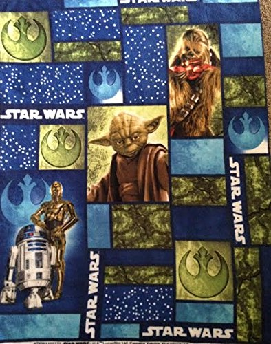 Star Wars squares featuring Yoda, C3P0 and R2D2 Fleece Fabric Panel - Officially Licensed (Great For Quilting, Sewing, Craft Projects, Throw Blankets, Wall Hangings, and More) 48
