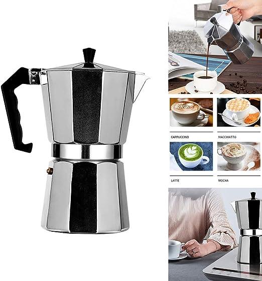 Cafetera de aluminio para espresso, cafetera de espresso, cafetera de 6 tazas 1 taza.: Amazon.es: Hogar