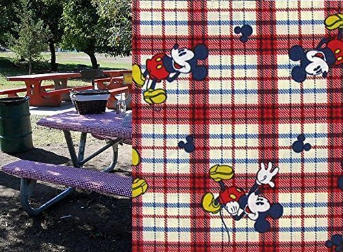 Mouse Bench Seat - Custom Stay Put Fitted Mouse Reusable Tablecloth Set. Picnic or Camping Bench 3 Piece, Table and 2 bench Mouse set. No more hot or dirty seats Great For Birthday Parties