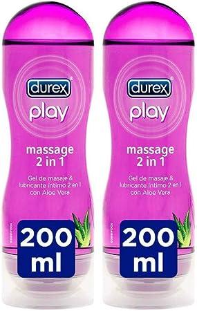 Durex Play Massage 2 en 1 Gel de Masaje Erótico y Lubricante con Aloe Vera 200 ml [Pack 2 Unidades]: Amazon.es: Salud y cuidado personal