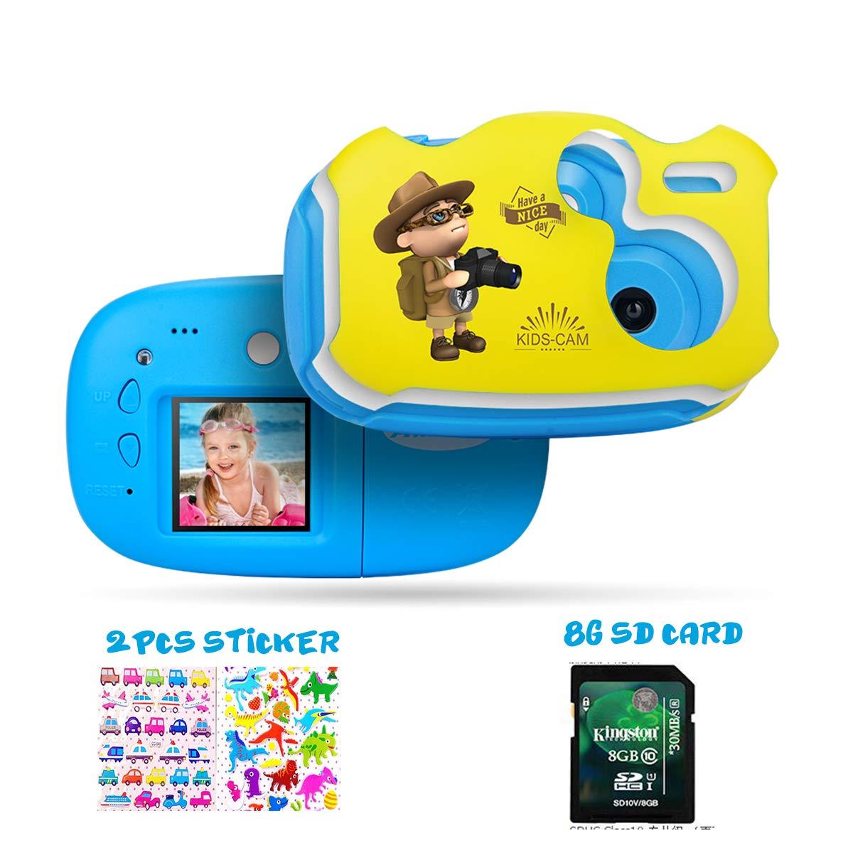 Amkov Kids Camera Cute DIY Digital Camera for Kids 1.44 inch IPS Mini Video Camera with Cartoon Sticker Gift for Children Boys Girls Blue