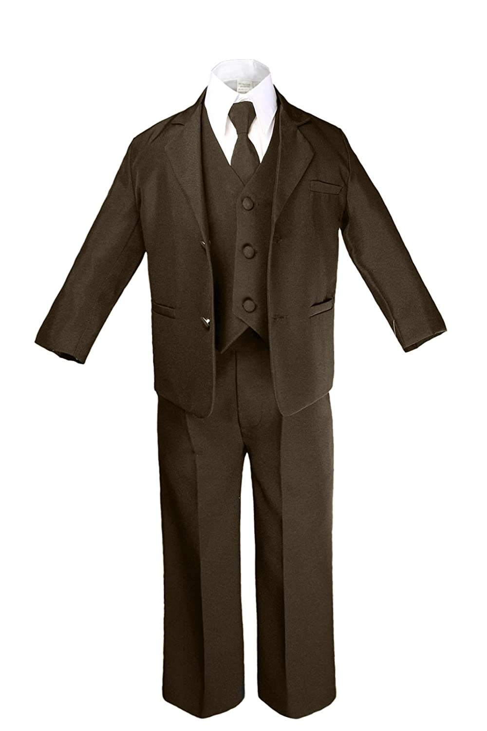 Unotux 6pc Boys Dark Brown Suits Sets with Satin Black Necktie Outfits All Size