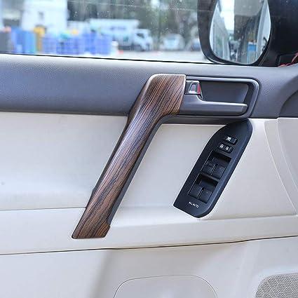 Accesorios de madera de pino para el interior de la puerta del coche ABS para Land Cruiser Prado FJ150 150 2010-2018 4 piezas