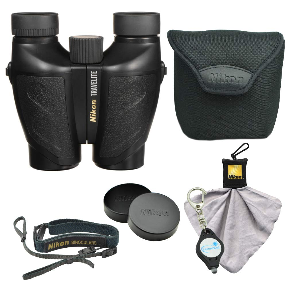 Nikon Travelite 10 x 25mm Compact Binoculars Bundle with Nikon Microfiber Optics Cleaning Cloth and Lumintrail Keychain Light by Nikon