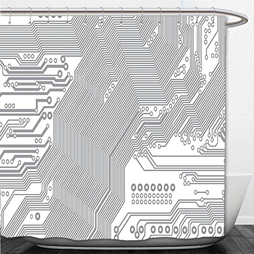 Beshowere Shower Curtain Digital Computer Motherboard Electronic Hardware Technical Display Futuristic Plan Design Grey (Pergola Plans Designs)