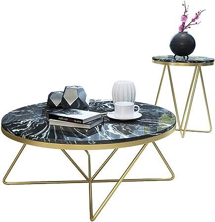 Juego de 2 mesas de té, Mesa de Centro de mármol sintético Mid Century/Mesa Auxiliar Lateral Muebles de Alto Grado adecuados para Sala de Estar, Oficina, mesita de Noche: Amazon.es: Hogar