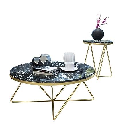 Juego de 2 mesas de té, Mesa de Centro de mármol sintético Mid ...