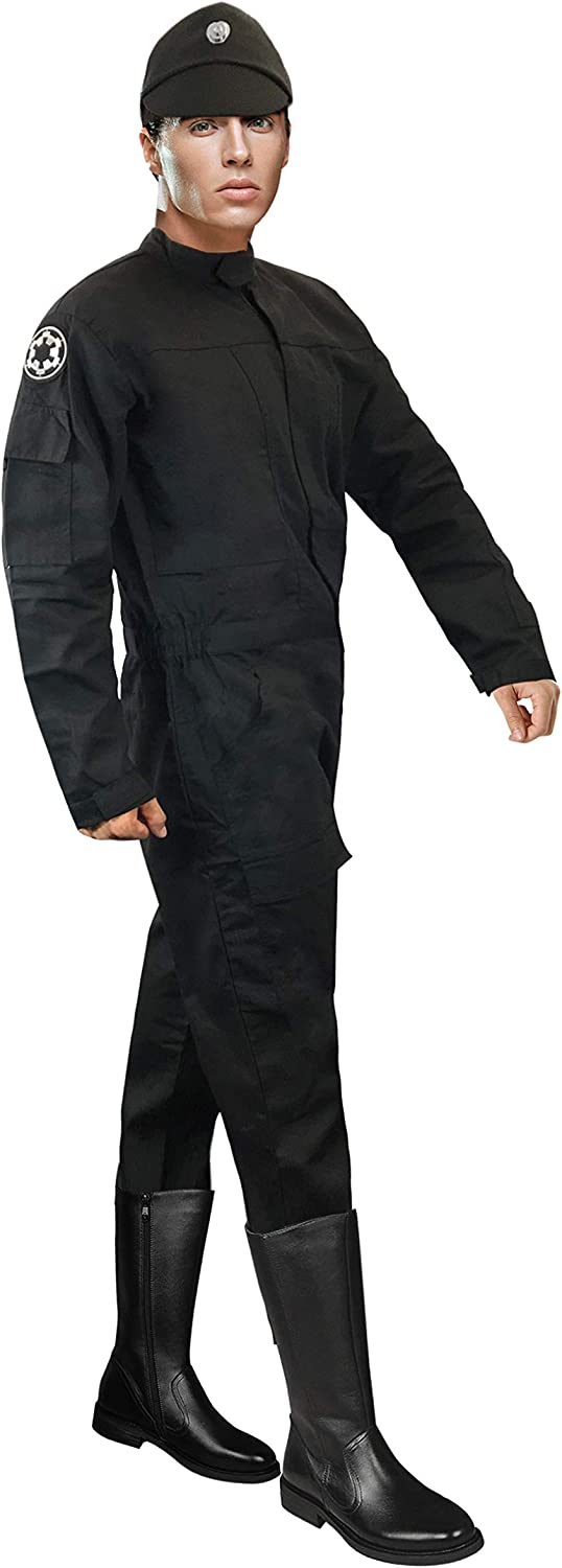 Star Wars TIE Jumpsuit Pilot Flightsuit Uniform Costume + Imperial Black Cap