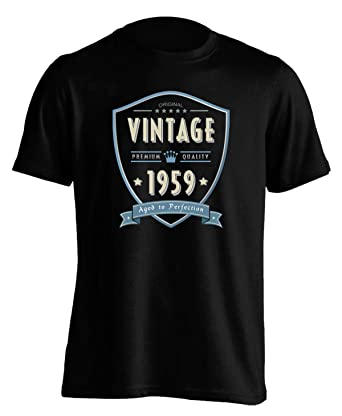 b832f8de 60th Birthday Gift/Present - 1959 Vintage Aged to Perfection - Mens T  Shirt: Amazon.co.uk: Clothing