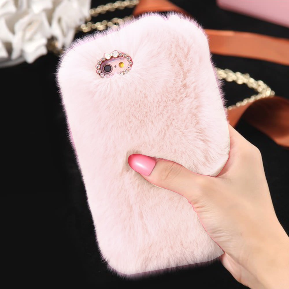Plush Cover for iPhone 7/8 Case LAPOPNUT Luxury Faux Fur Case Luxury Super Soft Cover Fluffy Furry Shockproof Back Case Cover with Chic Bowknot Bling Crystal Diamond, Black AILIBAO iPhone 7/iPhone 8