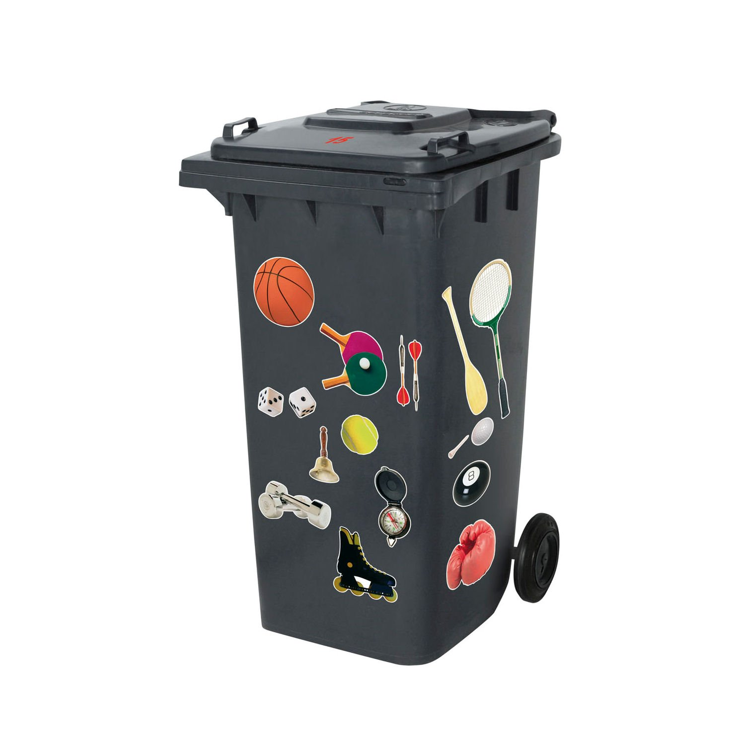 Sport Decorative Self Adhesive Wheelie Rubbish Bin Sticker Set Number Letter Stickers