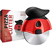 Innovative Pizza Cutter Wheel | Razor-Sharp Stainless Steel Blade That Effortlessly Slices | Ergonomic Rubberized Grip, Protective Sheath, Base Stand | Safer Than Using a Pizza Cutter Rocker