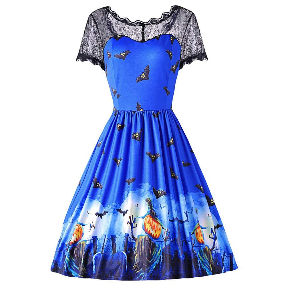 DEATU Ladies Dress, Teen Womens Halloween Lace Short Sleeve Vintage Gown Evening Party Fashion Dress (XL, Blue 2)