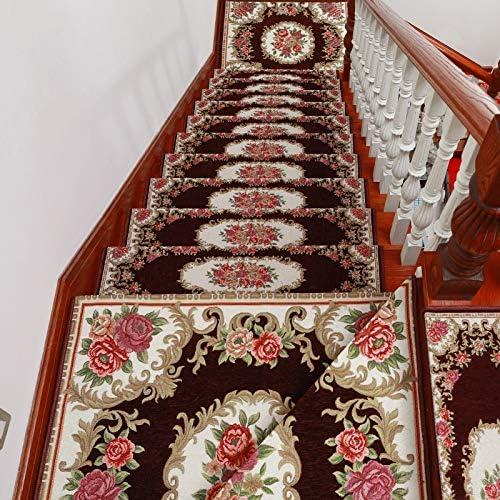 ZHAO YING Estilo Retro de la Escalera de Madera sólida Alfombra de su casa Escalera Alfombra de la Estera Antideslizante Escalón Mat Libre de Cola autoadhesiva: Amazon.es: Hogar