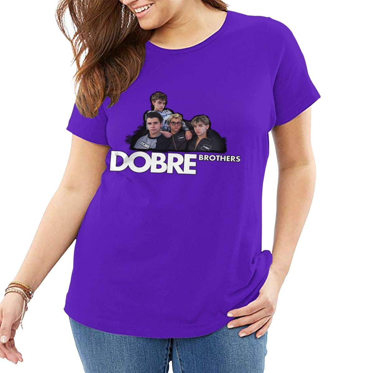 Fat Women's T Shirt Dobre Brothers Tee Shirts T-Shirt Short-Sleeve Round Neck Tshirt for Women Youth Girls Plus Size Purple 3XL by BKashy